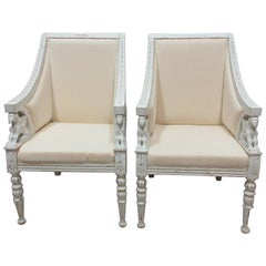 100% Original Painted Swedish Empire Griffen Chairs