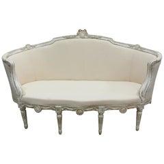 100% Original Painted Swedish Gustavian Barrel Sofa