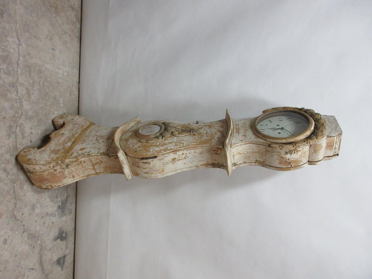 100% Original Painted Swedish Mora Clock In Distressed Condition For Sale In Hollywood, FL