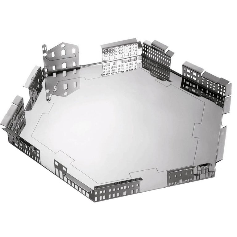 100 Piazze Palmanova Piazza Grande Silver Plated Tray by Fabio Novembre For Sale