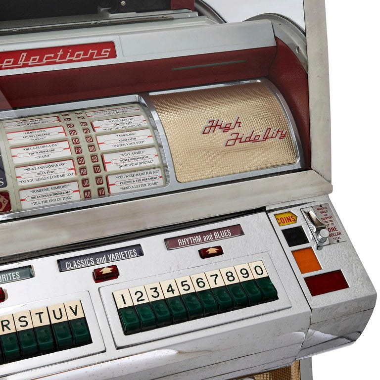 100-Record Retro American Seeburg Select-O-Matic V-200 Jukebox In Good Condition For Sale In London, GB