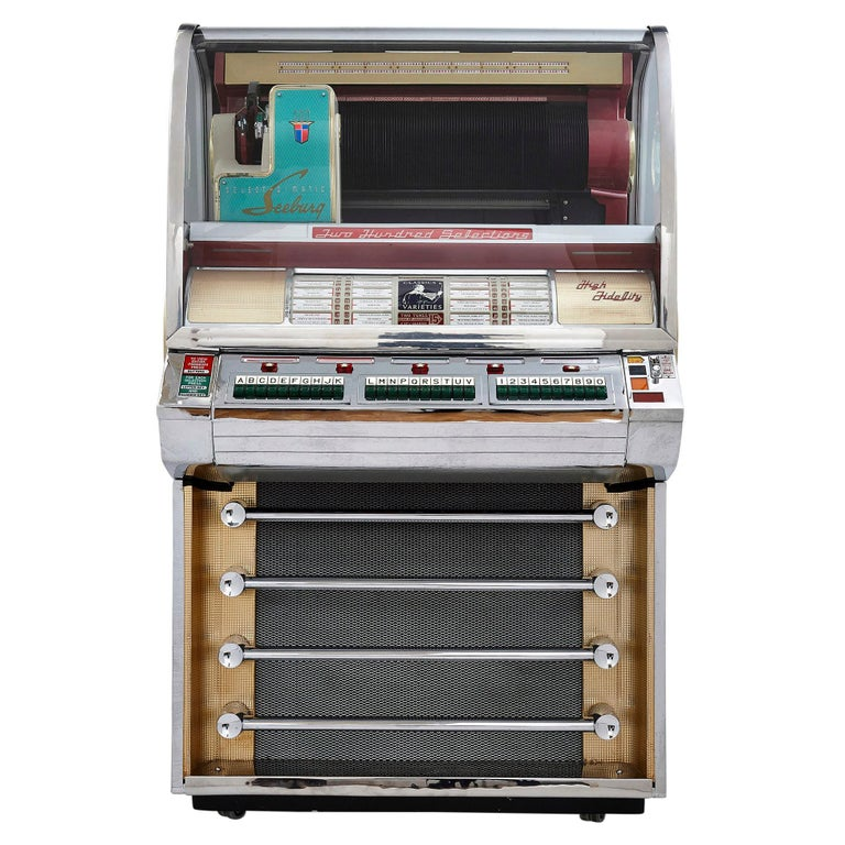 100-Record Retro American Seeburg Select-O-Matic V-200 Jukebox For Sale
