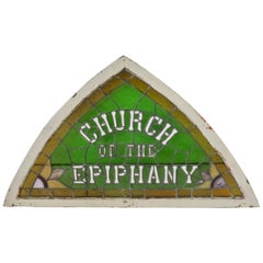 100 Year Old Detroit Area Church of Epiphany Tri Corn Stained Glass Window