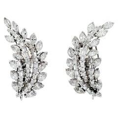 10.00 Carat Art Deco Platinum Diamond Leaf Style Clip Earrings