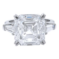 10.00 Carat Asscher Cut Three-Stone Custom Made Engagement Ring Platinum GIA