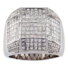 10.00 Carat Diamond 14 Karat White Gold Men's Plaque Ring