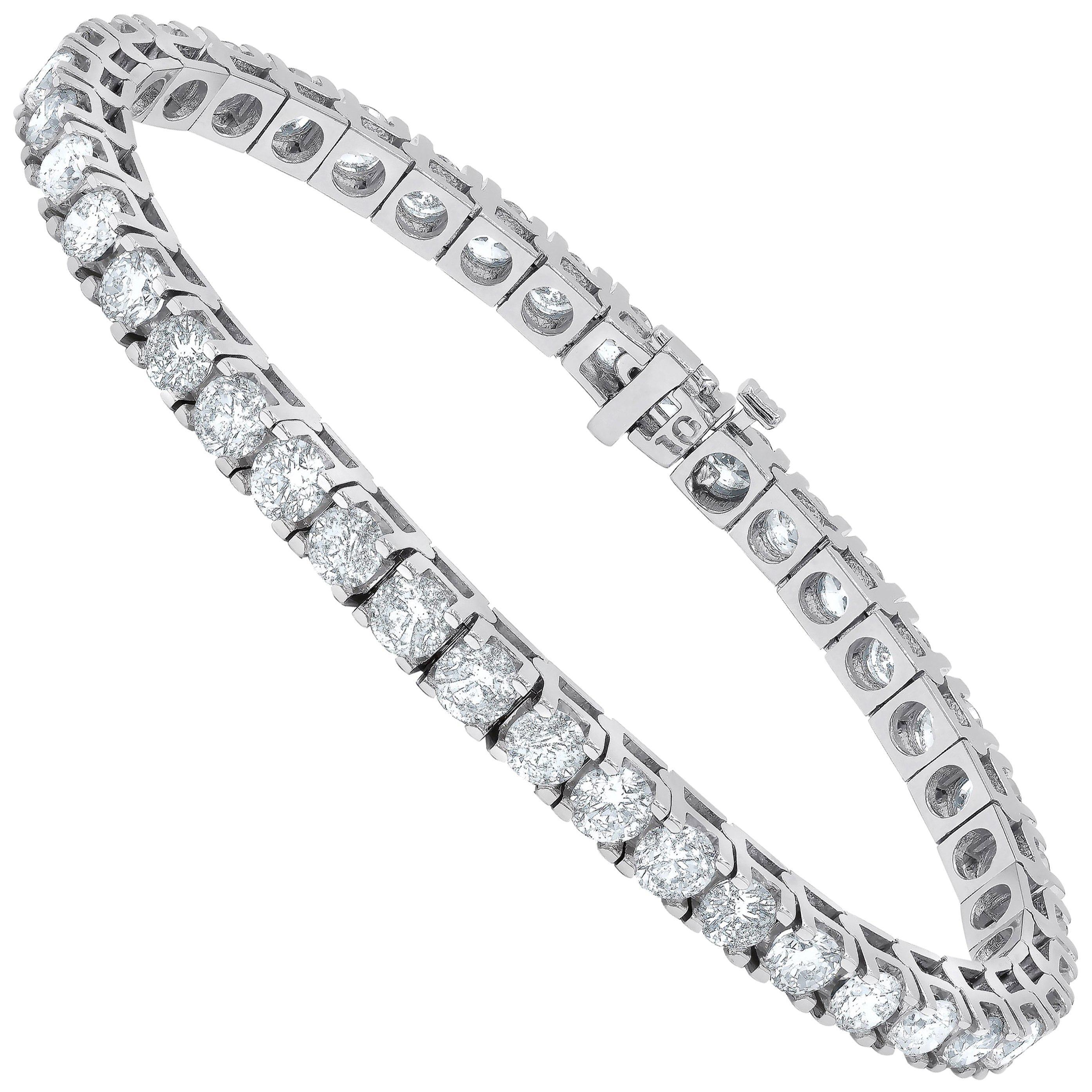 6.00 Carat Diamond Tennis Bracelet in White gold