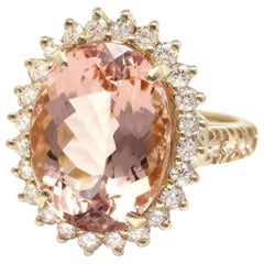 10.00 Carat Exquisite Natural Morganite and Diamond 14K Solid Yellow Gold Ring