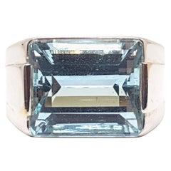 10.00 Carat Men's White Gold Diamond Blue Topaz Ring