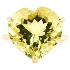 10.00 Carat Natural, Heart-Cut Lemon Quartz Cocktail Ring Set in 18K Gold