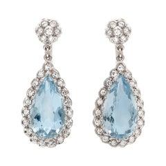 10.00 Carat Pear-Shaped Aquamarine Drop Earrings with Diamonds
