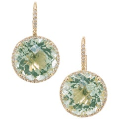 10.00 Carat Prassolite Diamond Yellow Gold Dangle Halo Earrings