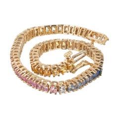 10.00 Carat Princess Multi-Color Sapphire Yellow Gold Link Tennis Bracelet