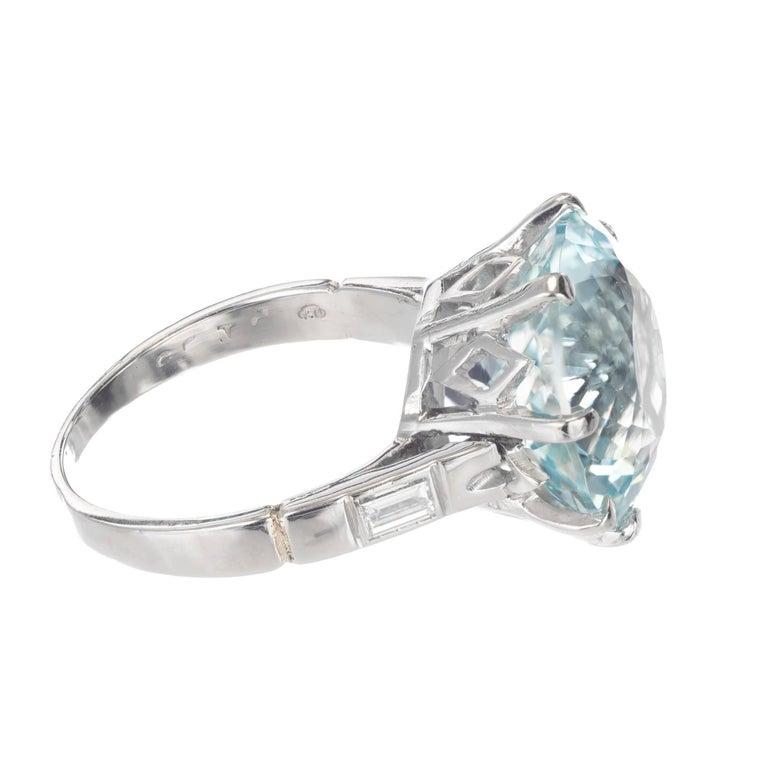 Round Cut 10.00 Carat Round Aquamarine Diamond Platinum Cocktail Ring For Sale