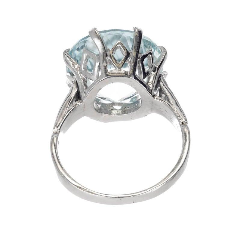 10.00 Carat Round Aquamarine Diamond Platinum Cocktail Ring In Good Condition For Sale In Stamford, CT