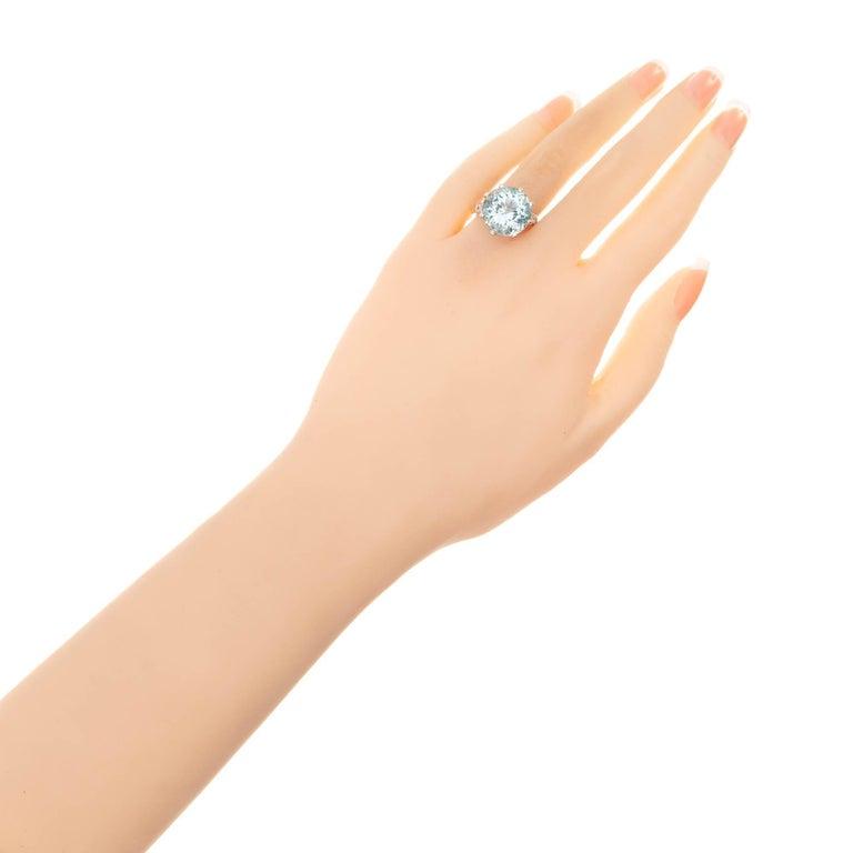 10.00 Carat Round Aquamarine Diamond Platinum Cocktail Ring For Sale 1