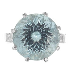 10.00 Carat Round Aquamarine Diamond Platinum Cocktail Ring