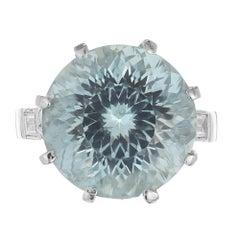 10.00 Carat Round Aquamarine Diamond Platinum Cocktail Ring