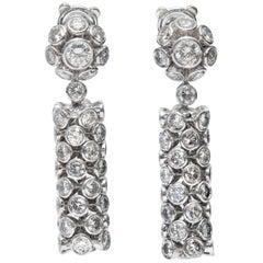 10.00 Carat Round Brilliant Cut 18 Karat Gold Bezel Set Drop Diamond Earrings