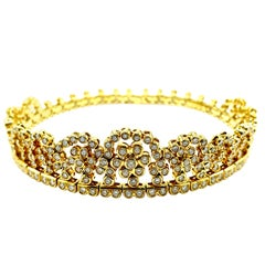 10.00 Carat Round Brilliant Diamond and 18K Yellow Gold Tiara Choker Necklace