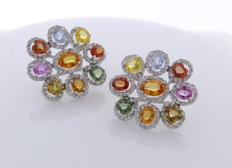 Contemporary 10.00 Carat Total Multi-Color Sapphire & Diamond Earrings in 18 Karat White Gold For Sale
