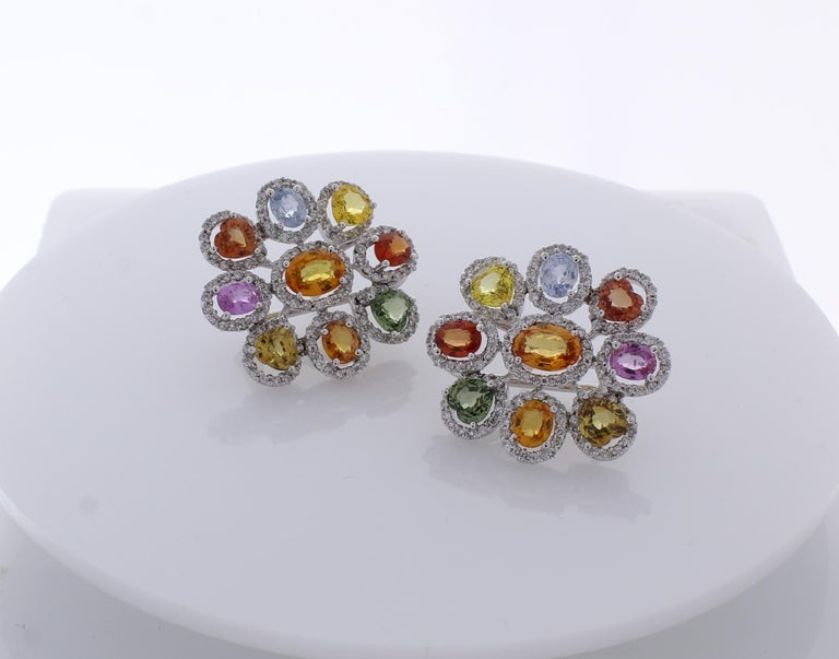 Oval Cut 10.00 Carat Total Multi-Color Sapphire & Diamond Earrings in 18 Karat White Gold For Sale