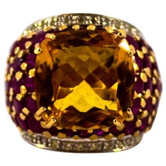 10,00 Karat Weiße Diamanten Rubin 8,00 Karat Citrin Gelbgold Cocktail-Ring