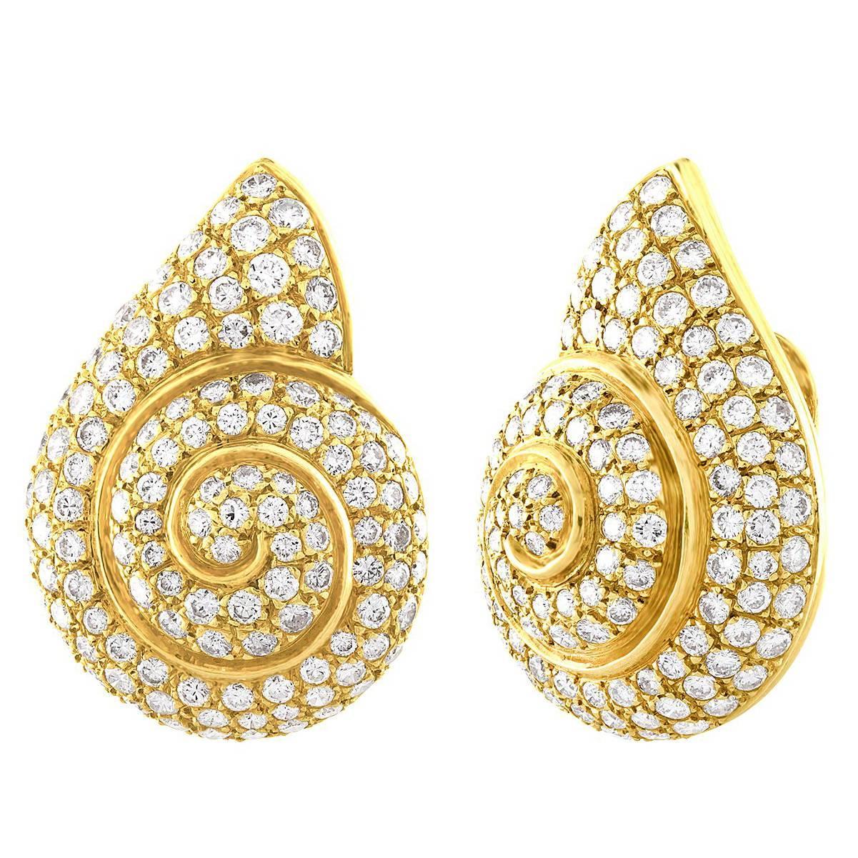 English 10.00 Carat Diamond Gold Snail Clip-On Earrings