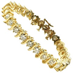 10.00 Carat Round Brilliant Cut Diamond 14 Karat Yellow Gold Tennis Bracelet