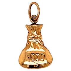 $1000 Money Bag Charm in 14 Karat Gold