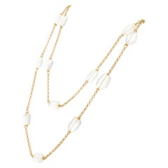 100.00 Carat Moonstone Yellow Gold Necklace