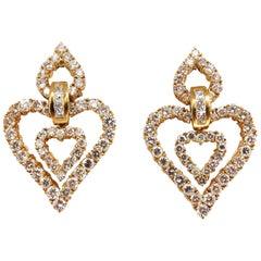 10.00ct natural baguette & rounds diamond heart dangle earrings 18kt huge