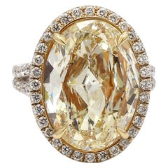 10.01 Carat Fancy Light Yellow, Oval Cut Diamond Ring, GIA Certified
