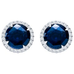 10.01 Carat Total Round Natural Blue Sapphires & Diamond Halo Stud Earrings, 18K