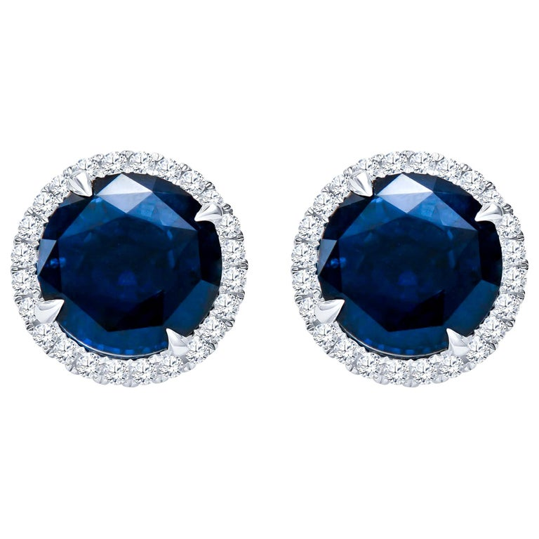 10.01 Carat Total Round Natural Blue Sapphires & Diamond Halo Stud Earrings, 18K For Sale