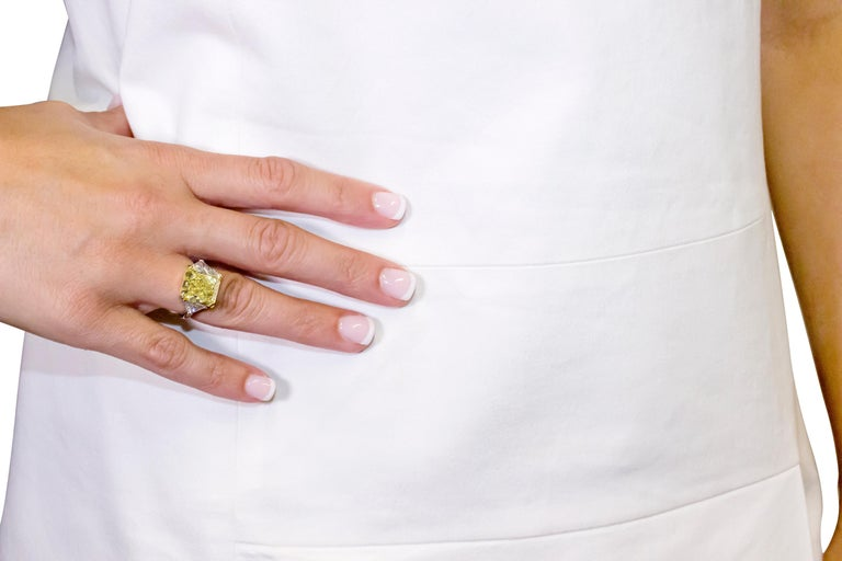 10.01 Fancy Yellow GIA Certified Radiant Cut Diamond Engagement Ring For Sale 2