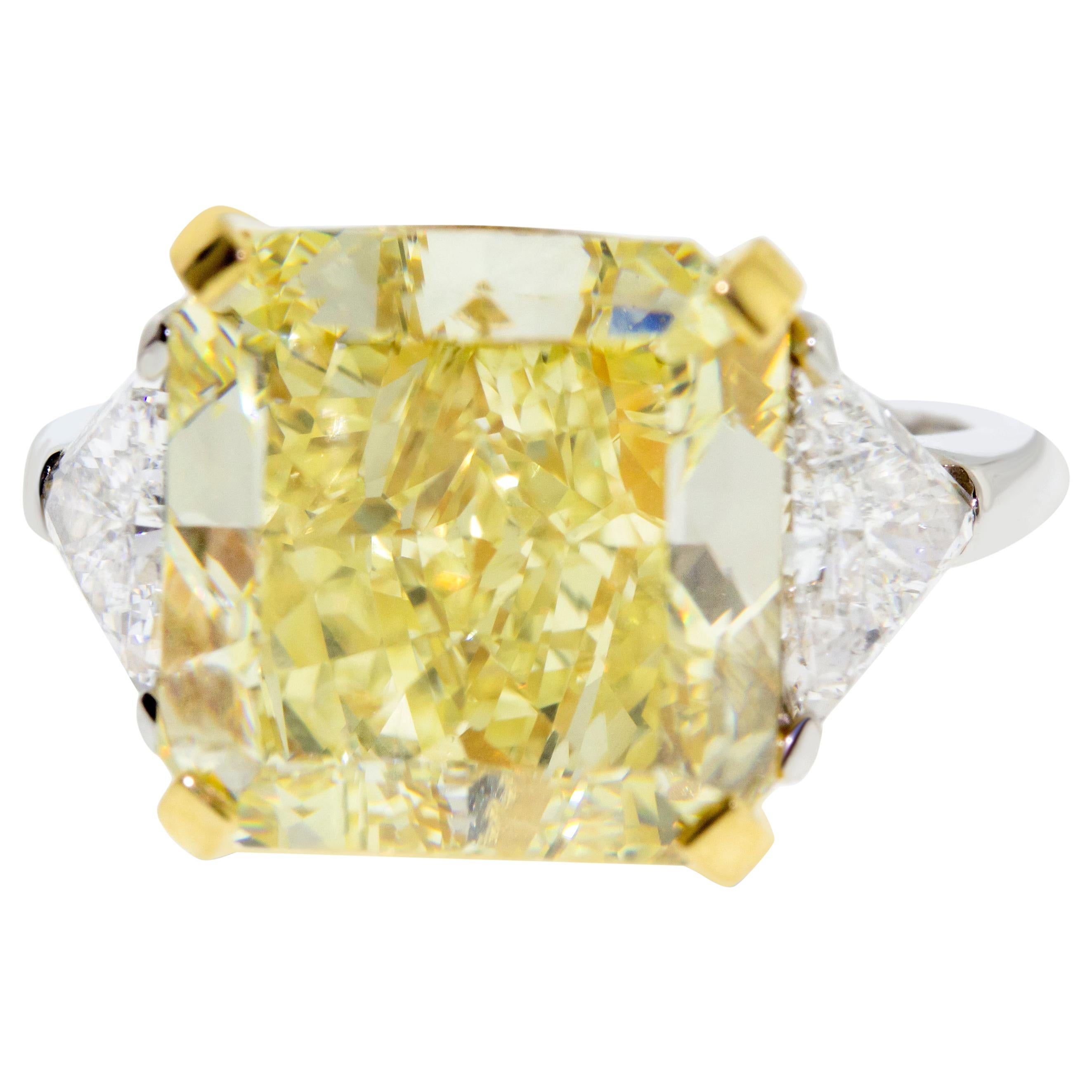 10.01 Fancy Yellow GIA Certified Radiant Cut Diamond Engagement Ring