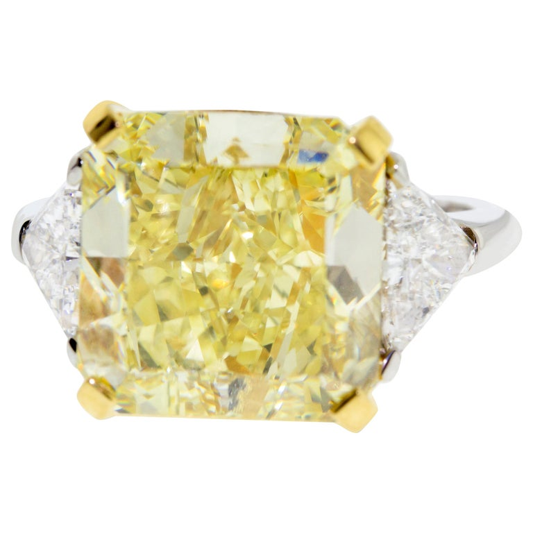 10.01 Fancy Yellow GIA Certified Radiant Cut Diamond Engagement Ring For Sale