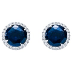 10.01ctw Round Natural Blue Sapphire .64ctw Diamond Stud Earrings 18k White Gold