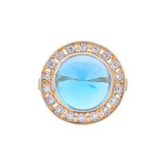 10.02 Carat Blue Topaz Diamond 18 Karat Yellow Gold Contemporary Ring