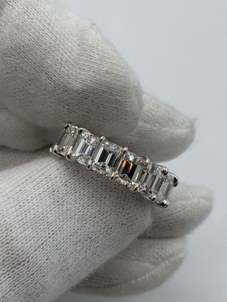 Contemporary 10.02 Carat Emerald Cut Diamond Eternity Band Ring For Sale