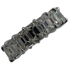 10.02 Carat Emerald Cut Diamond Eternity Band Ring