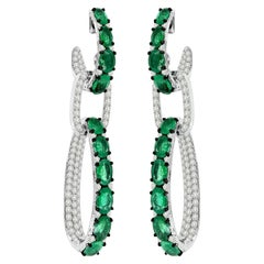 10.03 Carat Emerald Diamond 18 Karat White Gold Interlocking Earrings