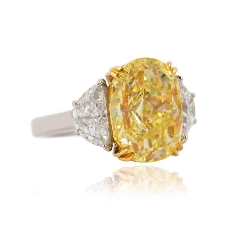 Oval Cut 10.03 Carat GIA Certified J. Birnbach Fancy Yellow Oval Diamond Ring For Sale
