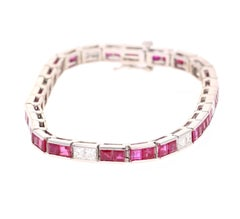 10.03 Carat Natural Ruby Diamond 14 Karat White Gold Bracelet