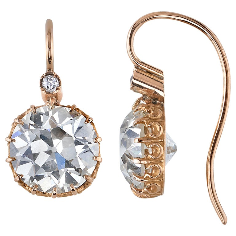 10.03 Carats Old European Cut Diamonds Set in Handcrafted Rose Gold Earrings For Sale