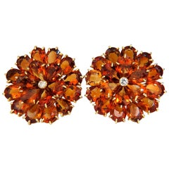100.36 Carat Natural Golden Citrine Cluster Diamond Earrings 18 Karat