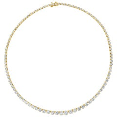 10.04 Carat Round Diamond Riviere Necklace in Yellow Gold