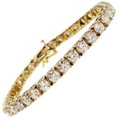 10.04 Carats Total Round Brilliant Diamond Tennis Bracelet 14 Karat Yellow Gold