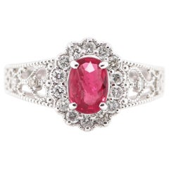 1.006 Carat No Heat Ruby and Diamond Cocktail Ring Set in Platinum